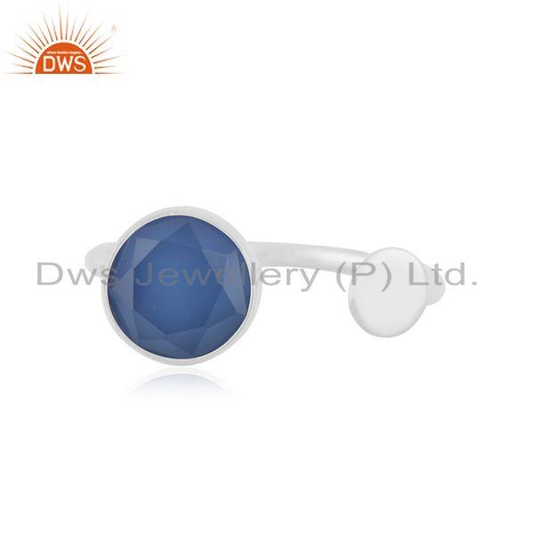 Blue Chalcedony Gemstone Sterling Fine Silver Trendy Ring Manufacturer Jaipur