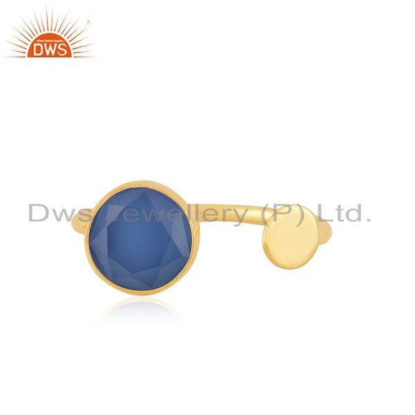 Blue Chalcedony Gemstone Gold Plated 925 Silver Designer Ring Manufacturer