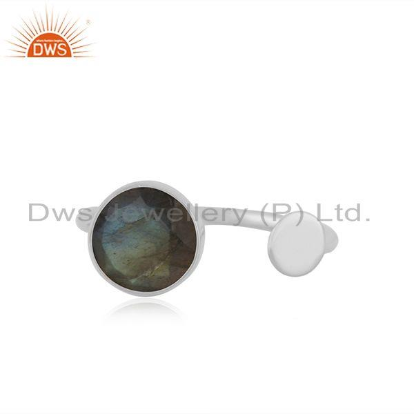 Natural Labradorite Gemstone Fine Sterling Silver Ring Manufacturer India