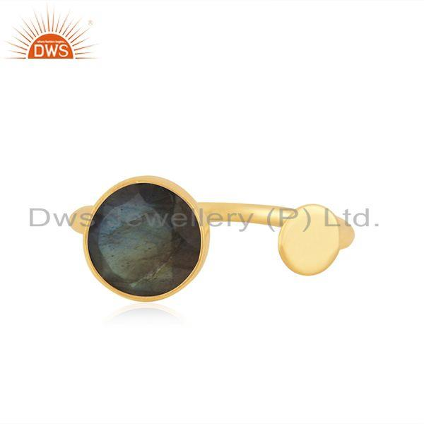 Natural Labradorite Gemstone Gold Plated 925 Silver Girls Ring Wholesale
