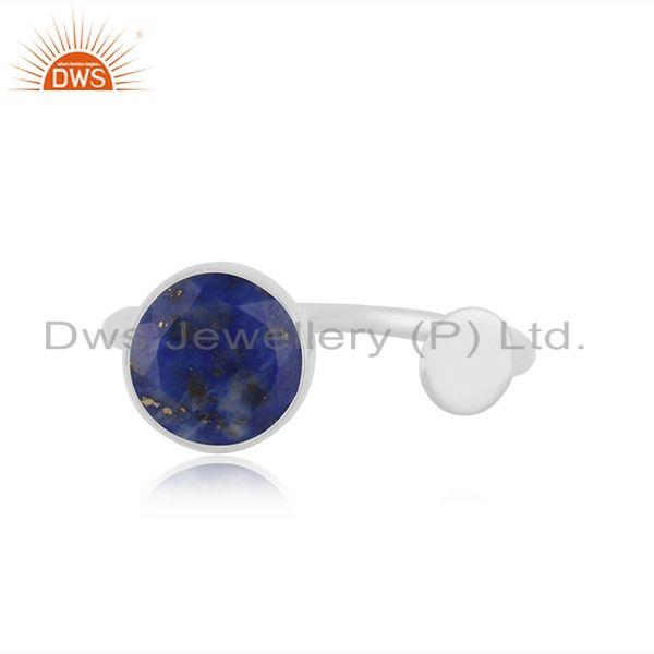 Lapis Lazuli Gemstone 925 Sterling Fine Silver Girls Ring Manufacturer Jaipur