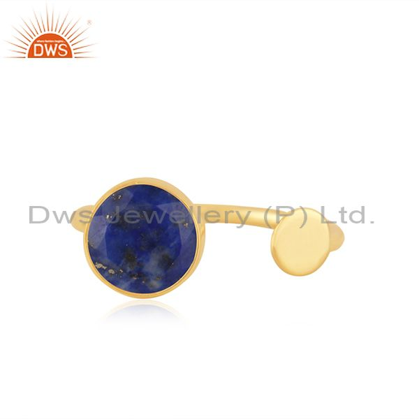 Lapis Lazuli Gemstone Gold Plated 925 Silver Girls Ring Manufacturer India