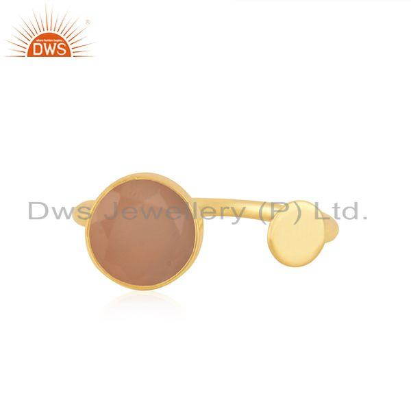 Handmade 925 Silver Gold Plated Rose Chalcedony Gemstone Girls Ring Wholesale