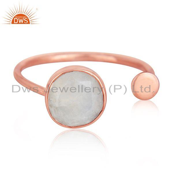 Rose gold plated designer silver rainbow moonstone girls rings