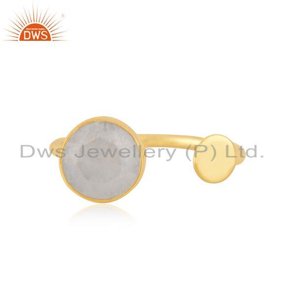 Natural Rainbow Moonstone Gold Plated 925 Silver Fashion Ring For Girls Jewelry