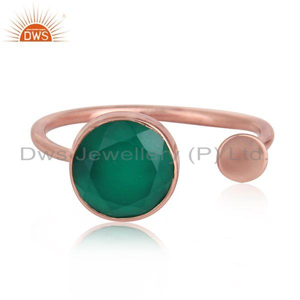 Green onyx gemstone designer rose gold plated silver ring jewelry