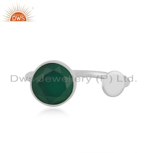 Genuine Green Onyx Gemstone Fine STerling Silver Designer Ring Manufacturer