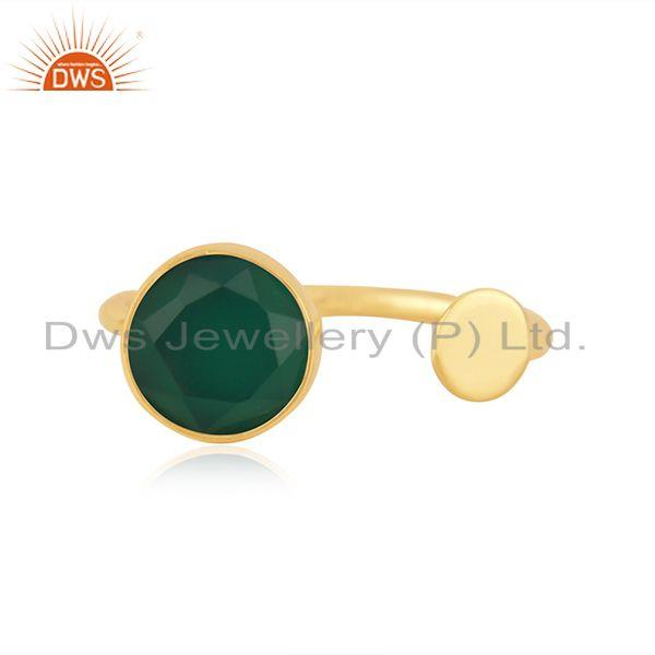 Natural Green Onyx Gemstone Gold Plated 925 Silver Ring Supplier from Jaipur
