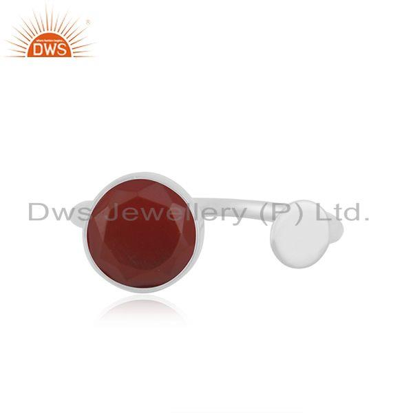 Red Onyx Gemstone 925 Sterling Silver Handmade Girls Ring Jewelry Wholesale