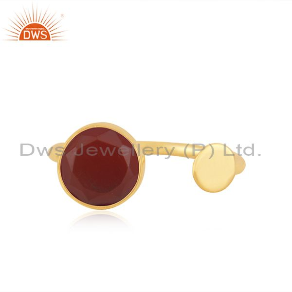 Red Onyx Gemstone 925 Silver Gold Plated Designer Ring Manufacturer India