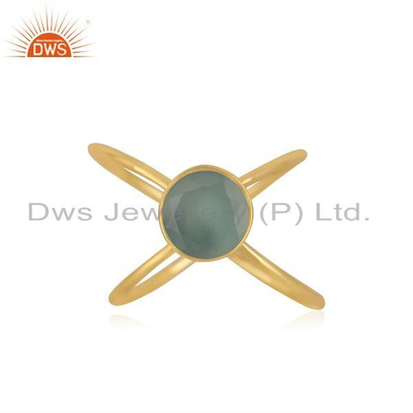 Aqua Chalcedony Gemstone Gold Plated 925 Silver Trendy Ring Wholesaler in Jaipur