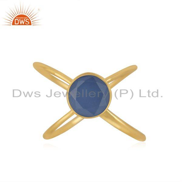 Blue Chalcedony Gemstone 925 Silver Gold Plated Designer Ring Manufacturer India