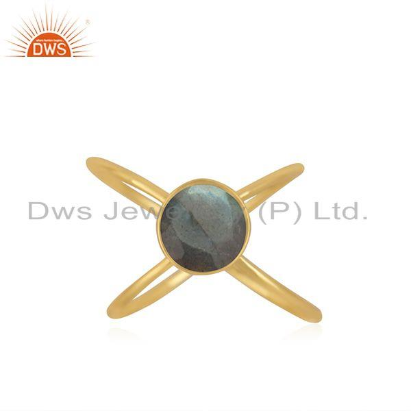 Natural Labradorite Gemstone 925 Silver Gold Plated Handmade Ring Manufacturer