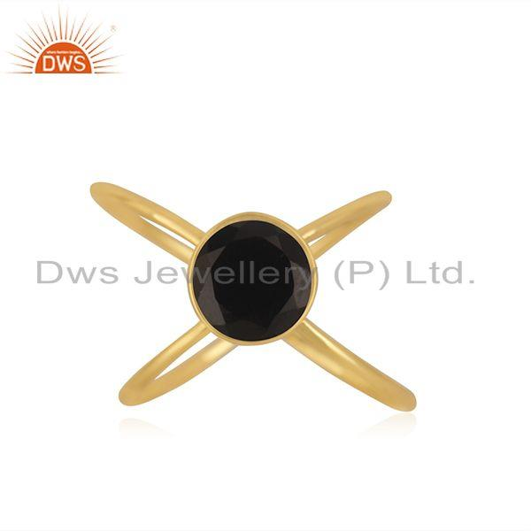 Black Onyx Gemstone 925 Silver Gold Plated Promise Ring Manufacturer India
