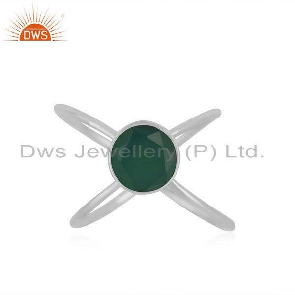 92.5 Sterling Fine Silver Green ONyx Gemstone Ring Manufacturer in Jaipur