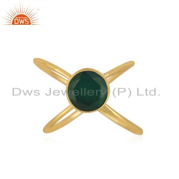 Yellow Gold Plated 925 Silver Green Onyx Gemstone Ring Manufacturer INdia