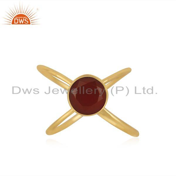 Red Onyx Gemstone 925 Silver GOld Plated Ring Jewelry Manufacturer in Jaipur