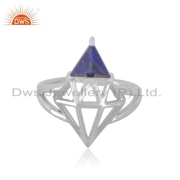 Sterling Fine Silver Lapis Lazuli Gemstone Diamond Design Ring Manufacturer