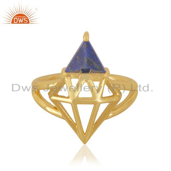 Lapis Lazuli Gemstone 925 Silver Gold Plated Diamond Gemstone Ring Manufacturer