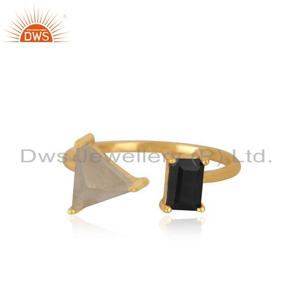 Natural Multi Gemstone 925 Silver Gold Plated Ring Manufacturer India