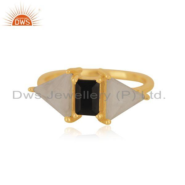 Gold Plated Brass Fashion Multi Gemstone Ring Manufacturer in India