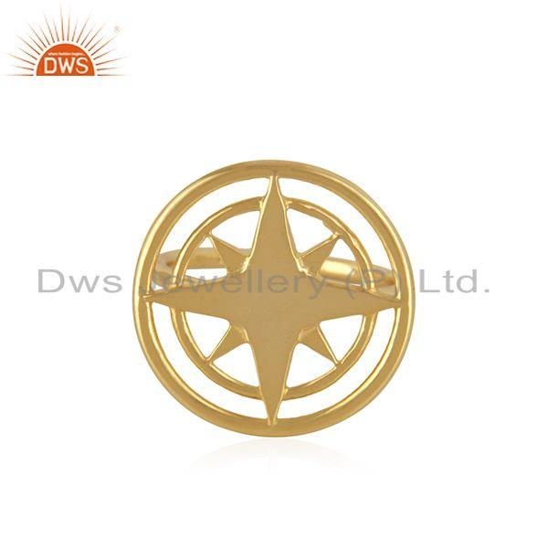 Compass Yellow Gold Plated 925 Silver Lucky Ring Wholesaler from Jaipur India