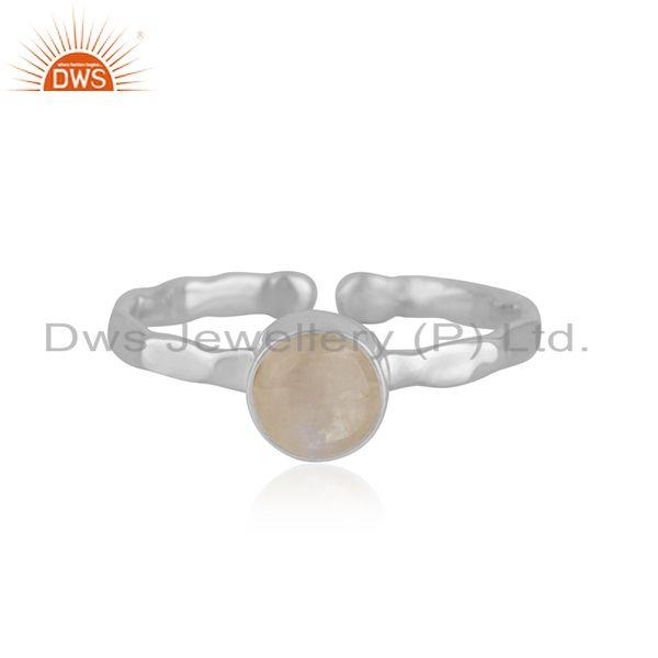 Rainbow Moonstone Handmade 925 Sterling Fine Silver Ring Manufacturer India