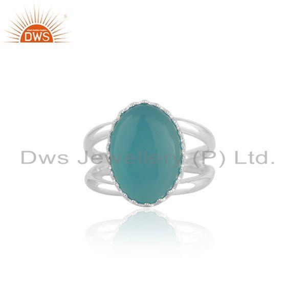 Aqua Chalcedony Gemstone 925 Silver Crown Ring Manufacturer India