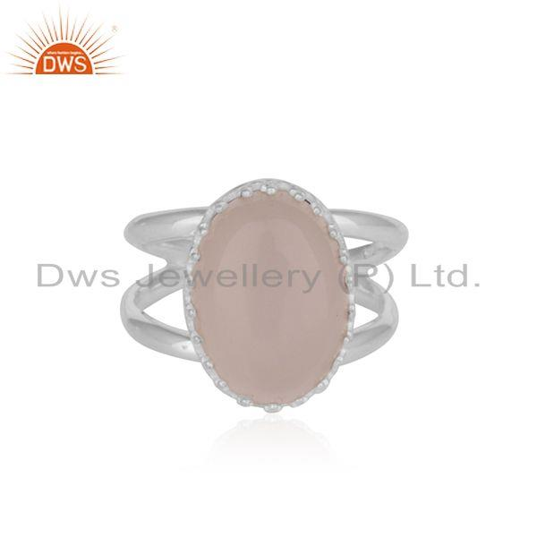 Crown Design Sterling Fine Silver Rose Chalcedony Gemstone Ring Manufacturer