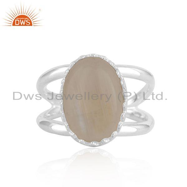 Rainbow Moonstone Crown Design 925 Silver Ring Manufacturer INdia