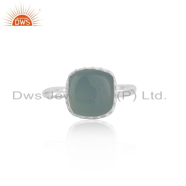 Aqua Chalcedony Gemstone 925 Silver Crown Design Ring Manufacturer Jaipur