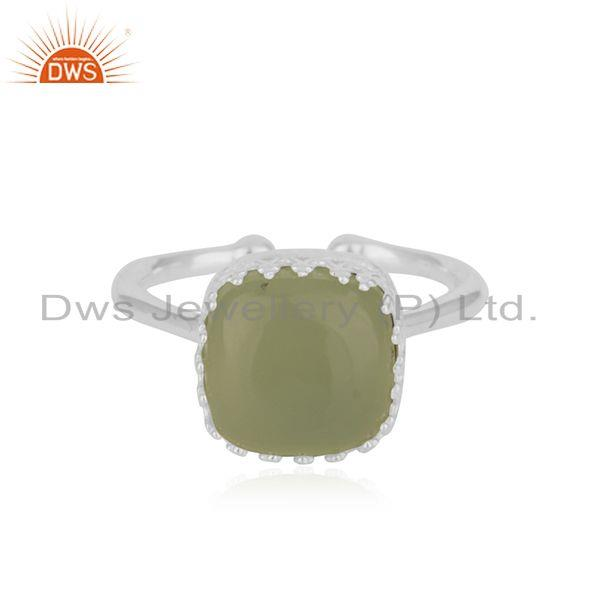 Prehnite Chalcedony Gemstone Fine Sterling Silver Ring Wholesale