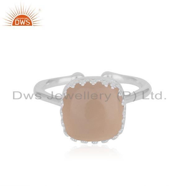 Rose Chalcedony Gemstone Handmade Sterling Silver Ring Wholesaler India