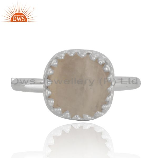 Crown Design 925 Sterling Fine Silver Rainbow Moonstone Ring Wholesale