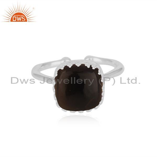 Crown Design Fine Sterling Silver Smoky Quartz Gemstone Ring Manufacturer