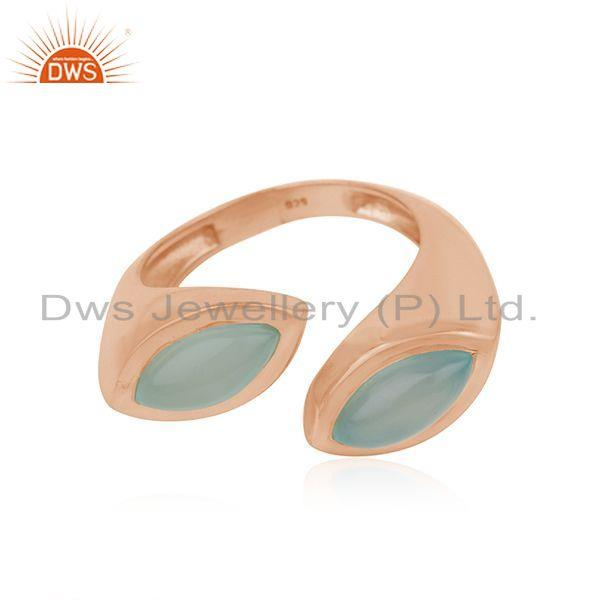 New Look Designer Rose Gold Plated Silver Aqua Chalcedony Ring Jewelry