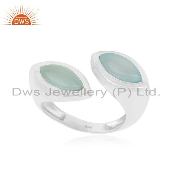 Aqua Chalcedony Gemstone 925 Fine Sterling Silver Ring Wholesaler