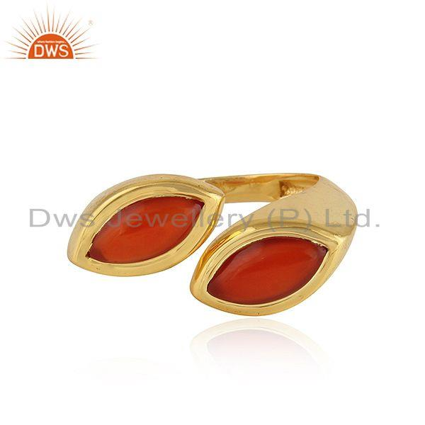 Marquoise Shape Red Onyx Gemstone 92.5 Silver Gold Plated Rings
