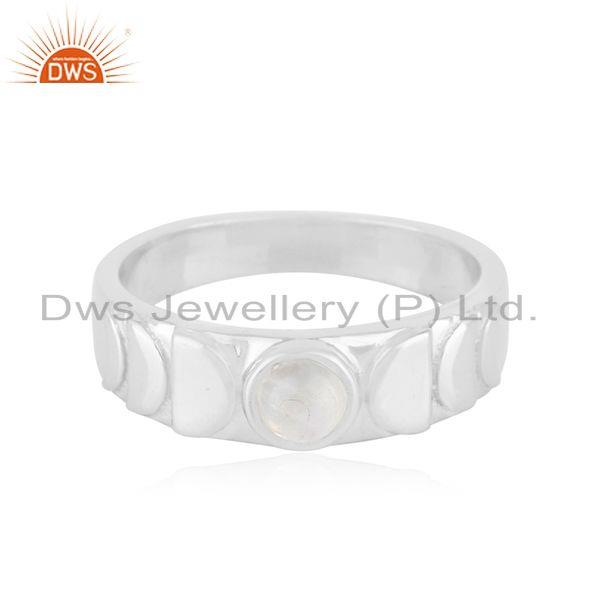 Rainbow Moonstone Fine Sterling Silver Handmade Band Ring Manufacturer
