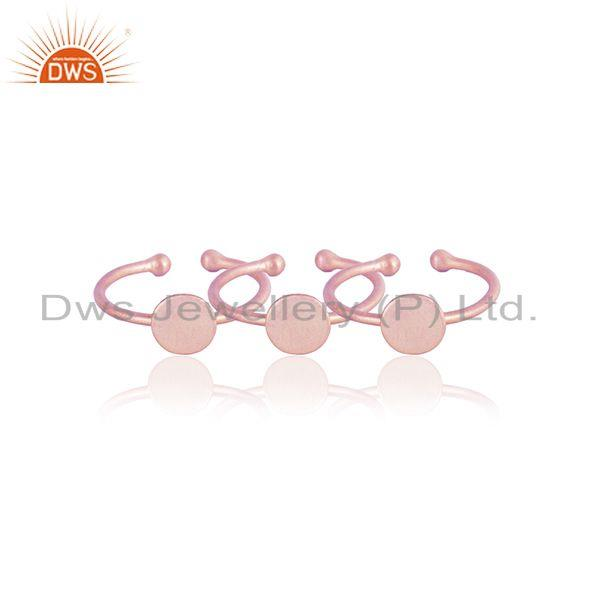 Designer set of 3 stackable rings in rose gold on silver 925