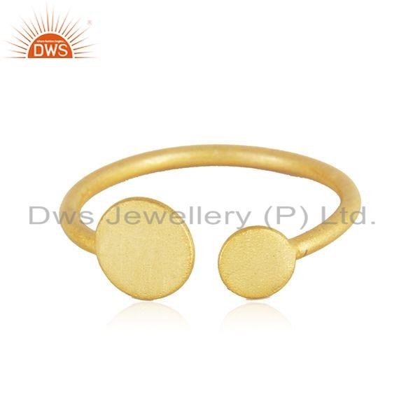 Handamde Designer 18k Yellow Gold Plated Silver Fashion Ring Jewelry