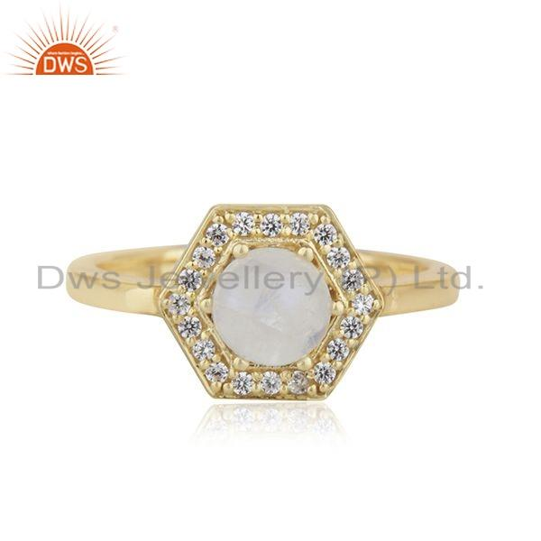 White Zircon Rainbow Moonstone Gemstone Womens Rings Jewelry