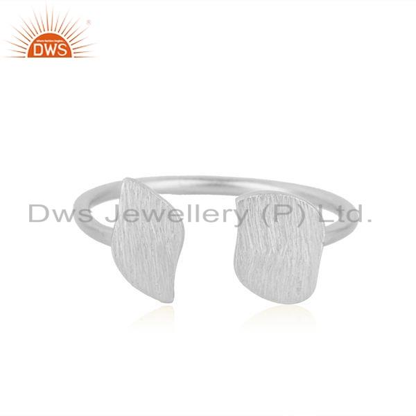 925 Sterling Fine Silver Texture Leaf Designer Girls Ring Jewelry