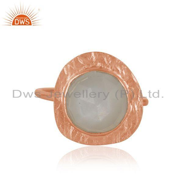 New Arrival Rose Gold Plated Silver Gray Moonstone Ring Jewelry