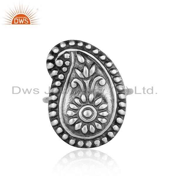 New Antique Oxidized Plain Silver Designer Tribal Ring Jewelry