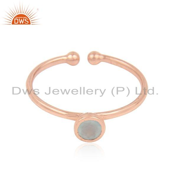 Simple Design Rose Gold Plated Silver Aqua Chalcedony Gemstone Rings