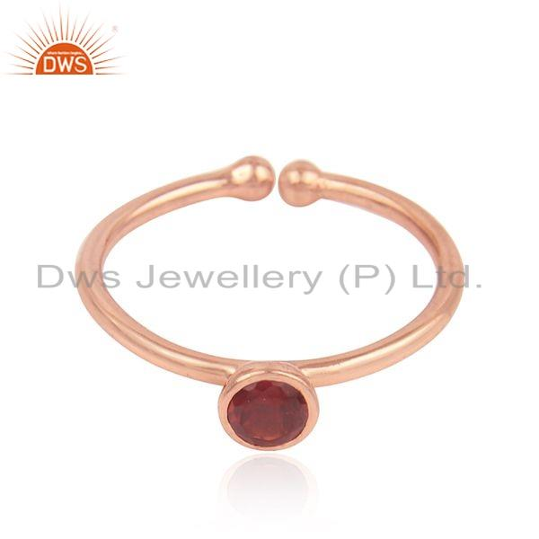 Natural Garnet Gemstone Designer Silver Rose Gold Plated Rings Jewelry