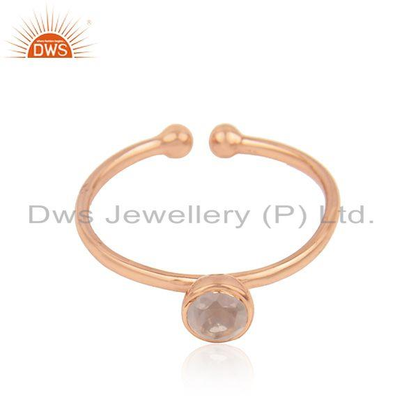 Rose Gold Plated Silver Rose Quartz Gemstone Womens Ring Jewelry