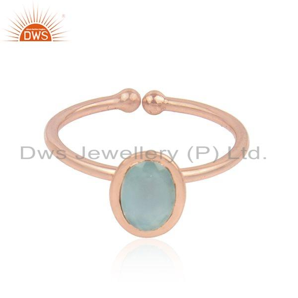 Aqua Chalcedony Gemstone Womens Rose Gold Plated Silver Rings Jewelry