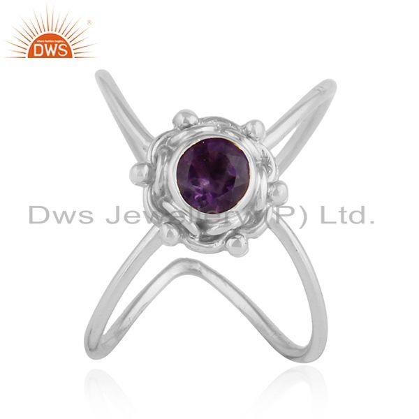 Oxidized 92.5 Silver Natural Amethyst Gemstone Antique Ring Jewelry